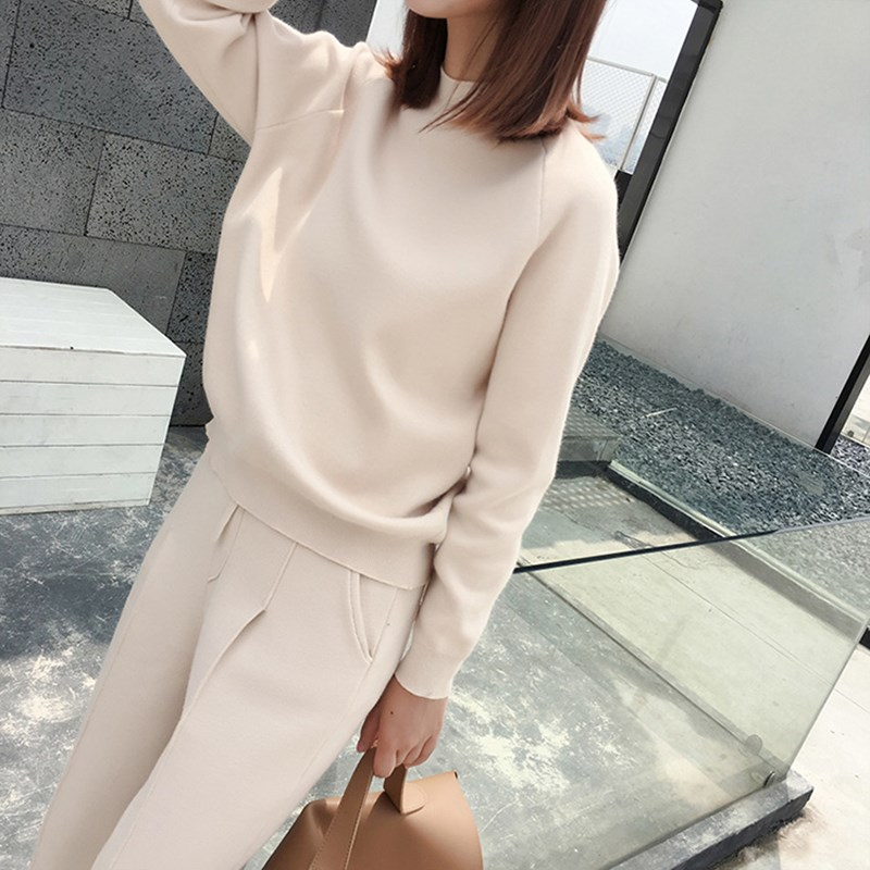 4 Colors Autumn Winter Knitted Tracksuit Women Clothing 2 Piece Set Female Knit Pant Suit