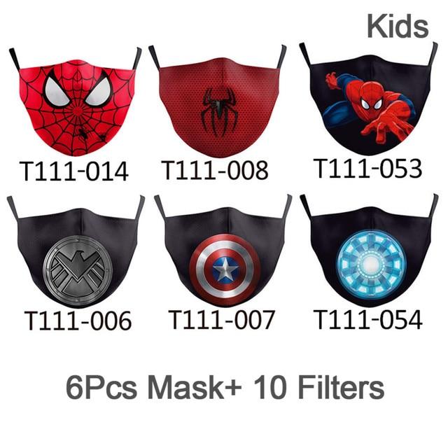 NADANBAO 6 Pcs Sets Superhero Kids Adult Mask Superman Captain  Print Face Masks Reusable Children Mask Fabric Dust Mask 2