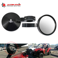 Alconstar  Motorcycle Side Rear Rearview Mirrors 1.75 Roll Bar Clamp UTV Mirrors for Yamaha for Polaris Rangers RZR900 Black