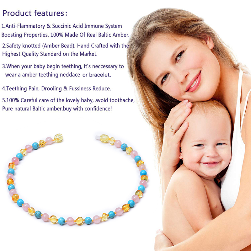 Natural Baltic Amber Baby Teething Necklace Multicolor Amber Beads Natural Stone Jewelry Baltic Amber Teething Necklace for Baby in Necklaces from Jewelry Accessories
