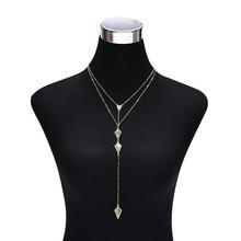 NJ Popular Long Zircon Natural Stone Pendant Necklace Retro Multi-Layer Simple Geometric Jewelry For Girls Gift