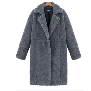 2019 autumn and winter new women's cotton jacket cashmere long-sleeved solid color long coat wool coat 4