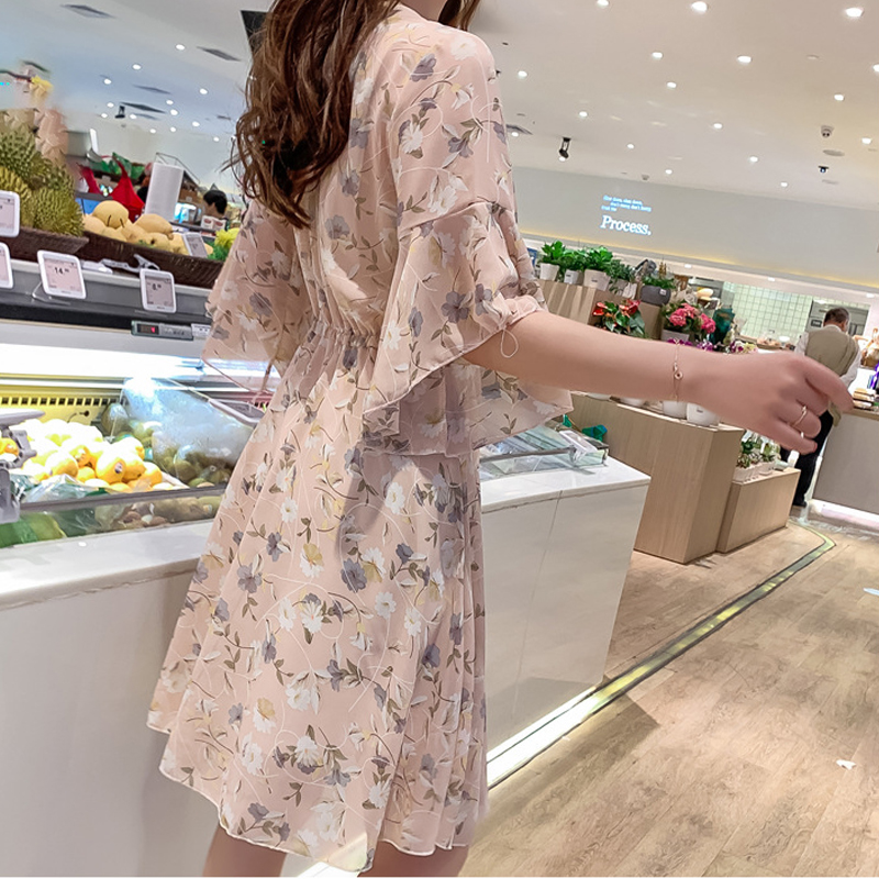 women floral printed chiffon V-neckmidi dress half sleeve pleated elegant slim 2020 summer causual high waist vestidos de vera 3