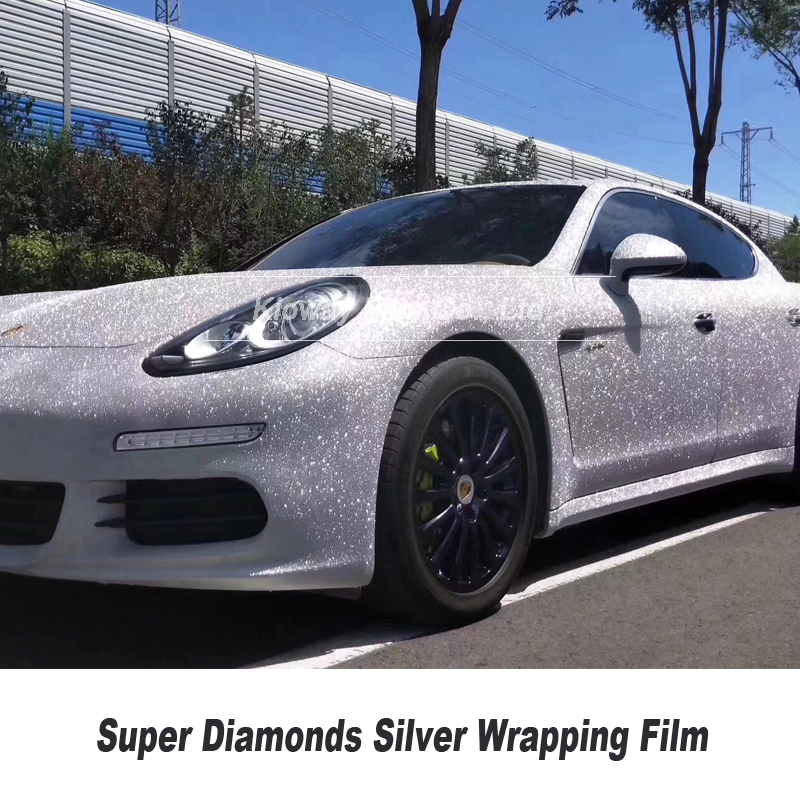 Highest Quality Super Diamonds Silver Vinyl Wrap Bubble Free Solvent Based Low Initial Tack Adhesive 1.22m X 18m/roll