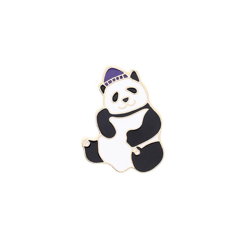 Булавка в виде животных из мультфильма голые медведи Милая гризли панда ледяной медведь джинсовые эмалированные булавки Kawaii нагрудные броши значки модные подарки - Окраска металла: XZ185