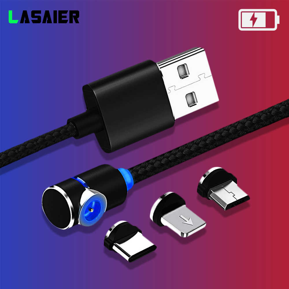 90 gradi Cavo USB Magnetico 2.4A di ricarica per il iphone 7 8 Più XR Xs x Magnet Micro USB di Tipo C cavo di Tipo del LED-C Cavi di Ricarica