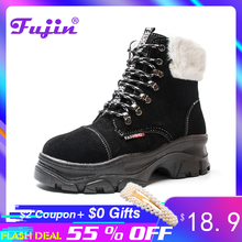 цены Fujin Creepers Platform Shoes Plush Fur Women Lace Up European Handmade Muffin Brand Elevator Thick Sole High Top Wedge Boots