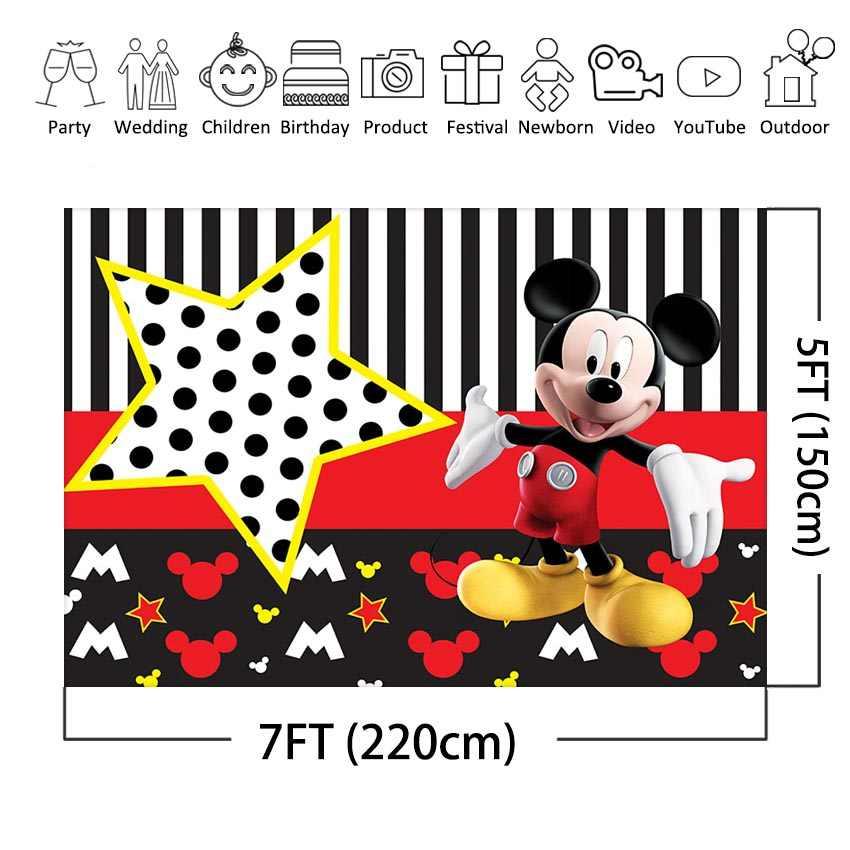 Mickey Mouse zemin şerit mickey karikatür doğum günü partisi özel fotoğraf arka plan çocuk doğum günü fotoğraf kabini