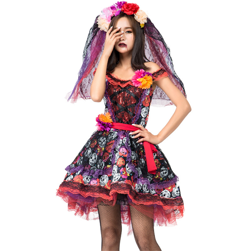 Adult Women Halloween Skeleton Scary Vampire Bride Costume Cosplay Day Of Dead Fancy Dress Veil Disguise Carnival Party Purim