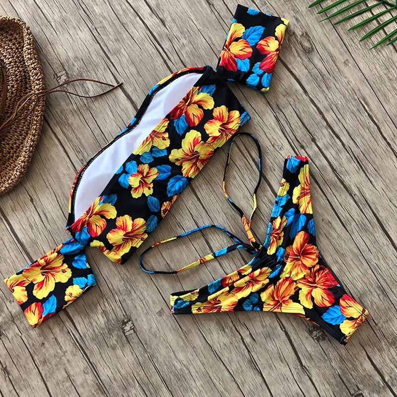 2020 Sexy Women One Shoulder Bikini Female Bather High Waist Swimsuit Brazilian Bathing Suit Swimming Woman Swimwear 2
