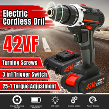 цена на 42VF Double Speed Cordless Electric Screwdriver Impact Drill  25+1 Torque Rechargeable LI-ION Battery Electric Drill Power Tools