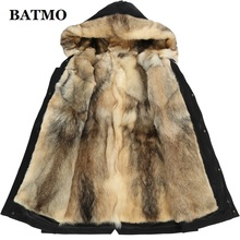 Batmo winter wolf fur liner hooded jacket men, winter warm parkas men plus-size