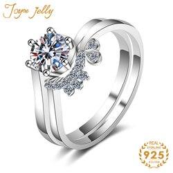 JoyceJelly 925 Sterling Silber Ring für Frauen Hochzeit 80 Cent 4 Krallen Ringe 2020 Neue Ankunft Hochzeit Schmuck Geschenke Großhandel