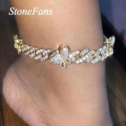 Женский браслет на щиколотке Stonefans Iced Out, стразы в виде бабочек с кубическим цирконием, оптовая продажа