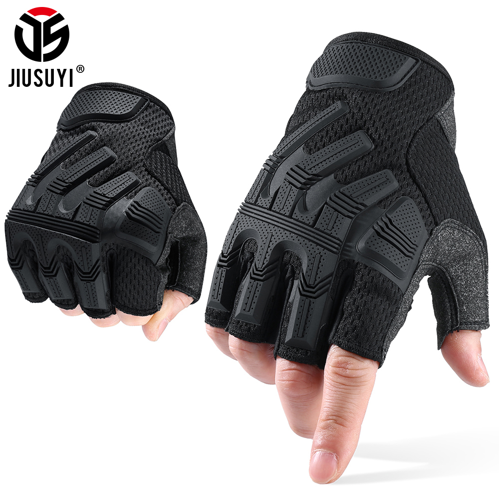 Tactical Mittens Half Finger Gloves Fingerless SWAT Glove Army Military Rubber Protective Airsoft Bicycle Shooting Driving Men
