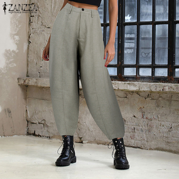 ZANZEA Women High Waist Solid Lanten Pants Elegant Work OL Wide Leg Pants Casual Loose Trousers Solid Harem Pantalon Plus Size