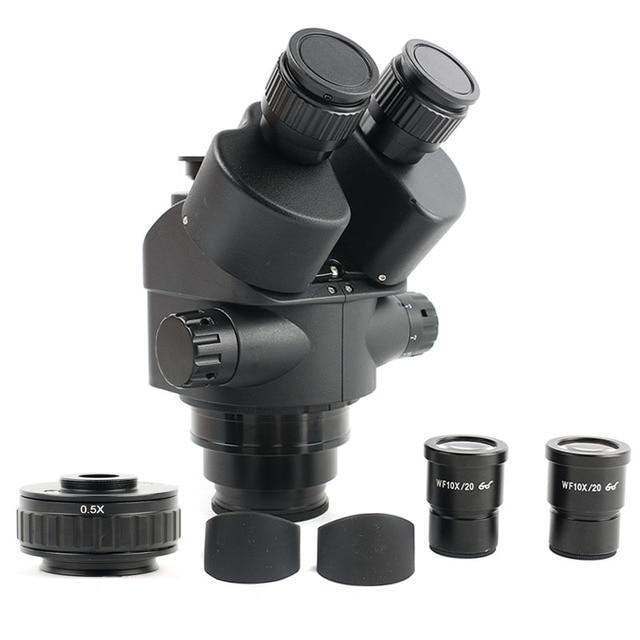 7 45X זום Simul הפוקוס סטריאו Trinocular מיקרוסקופ ראש + 0.5X CTV מצלמה פוקוס מתאם WF10X/20 עינית Microscopio אבזרים