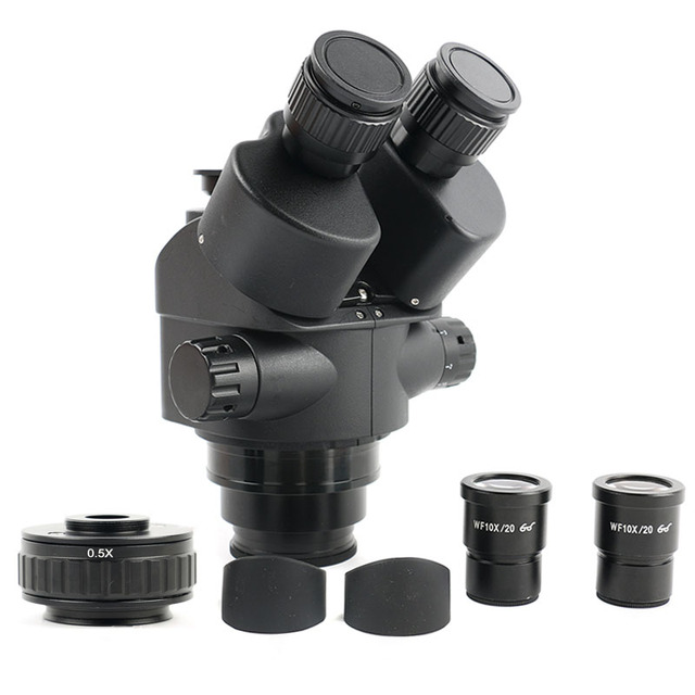 7 45X Zoom Simul Focal Trinocular Stereo Microscope Head+0.5X CTV Camera Focus Adapter WF10X/20 Eyepiece Microscopio Accessories