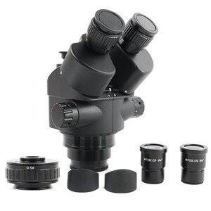 Image 1 - 7 45x 줌 simul focal trinocular 스테레오 현미경 헤드 + 0.5x ctv 카메라 초점 어댑터 wf10x/20 접안 렌즈 현미경 액세서리