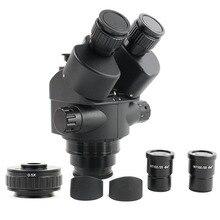 Cabezal de Microscopio Trinocular con Zoom 7 45X, adaptador de enfoque de cámara CTV + 0,5X, WF10X/20, accesorios de Microscopio ocular