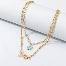 Acrylic Butterfly Double Layer Letter Alphabet Angel Pendant Necklace For Women Popular Fashion Layered Necklace Girls Jewelry double layered pendant necklace