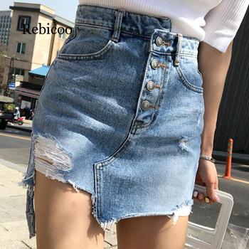 Casual Irregular High Waist Denim Skirt Light Wash Women Ripped Mini Skirt Female mini saia mujer  Summer