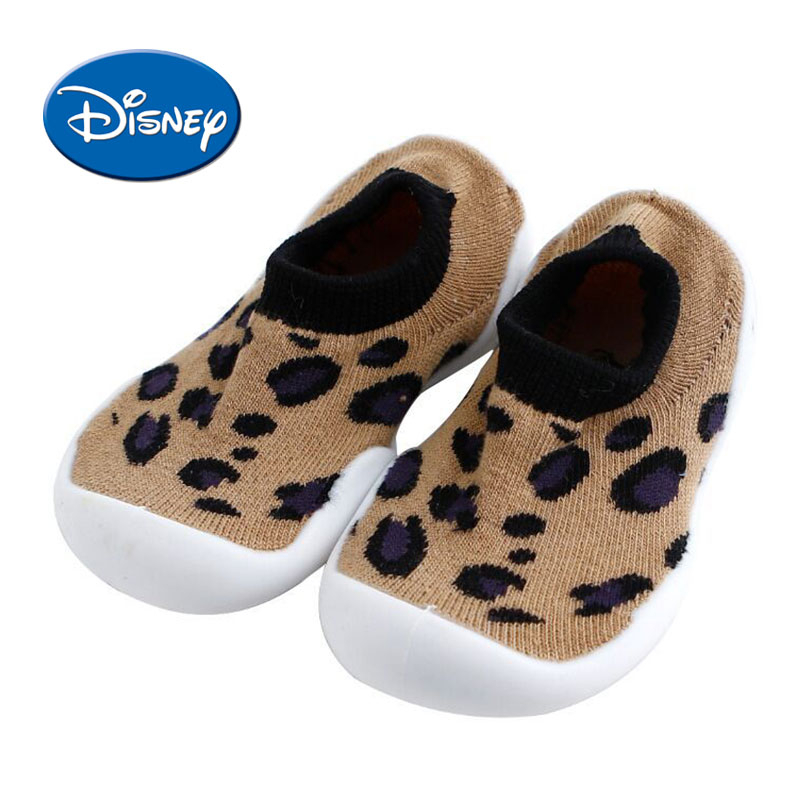 Disney  Baby Shoes Soft Cotton Floor Socks Kids Shoes Leopard Print Toddler Shoes Non-slip First Walkers