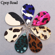 Cpop New Trendy Leopard Genuine Leather Earrings for Women Feather Water Drop Fashion Jewelry Accessories Gift