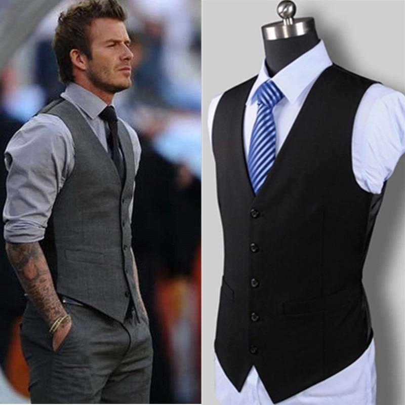 New Wedding Dress High-quality Goods Cotton Men's Fashion Design Suit Vest / Grey Black High-end Men's Business Casual Suit Vest