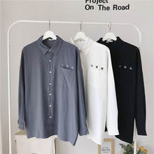 Модная белая рубашка в Корейском стиле Осеннее Мужское пальто