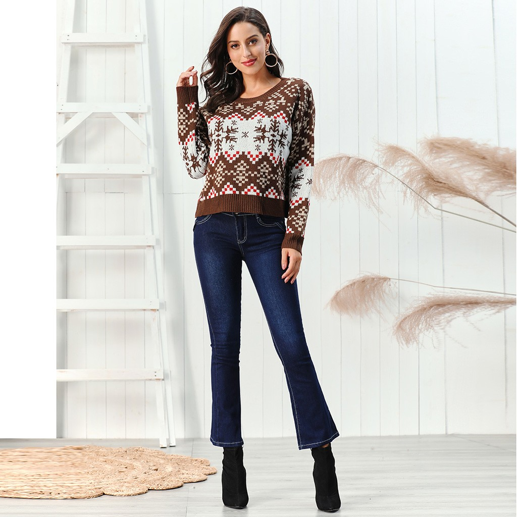 Snowflake New Loose Pullover Women Christmas Sweaters Elk Print Wool Sweater knitting Tops pull femme nouveaute 2020