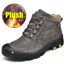 New Genuine Leather Men Boot Fashion Man Winter Snow Boots keep Warm Boots Plush Ankle Snow Work Shoes Men's Snow Boots