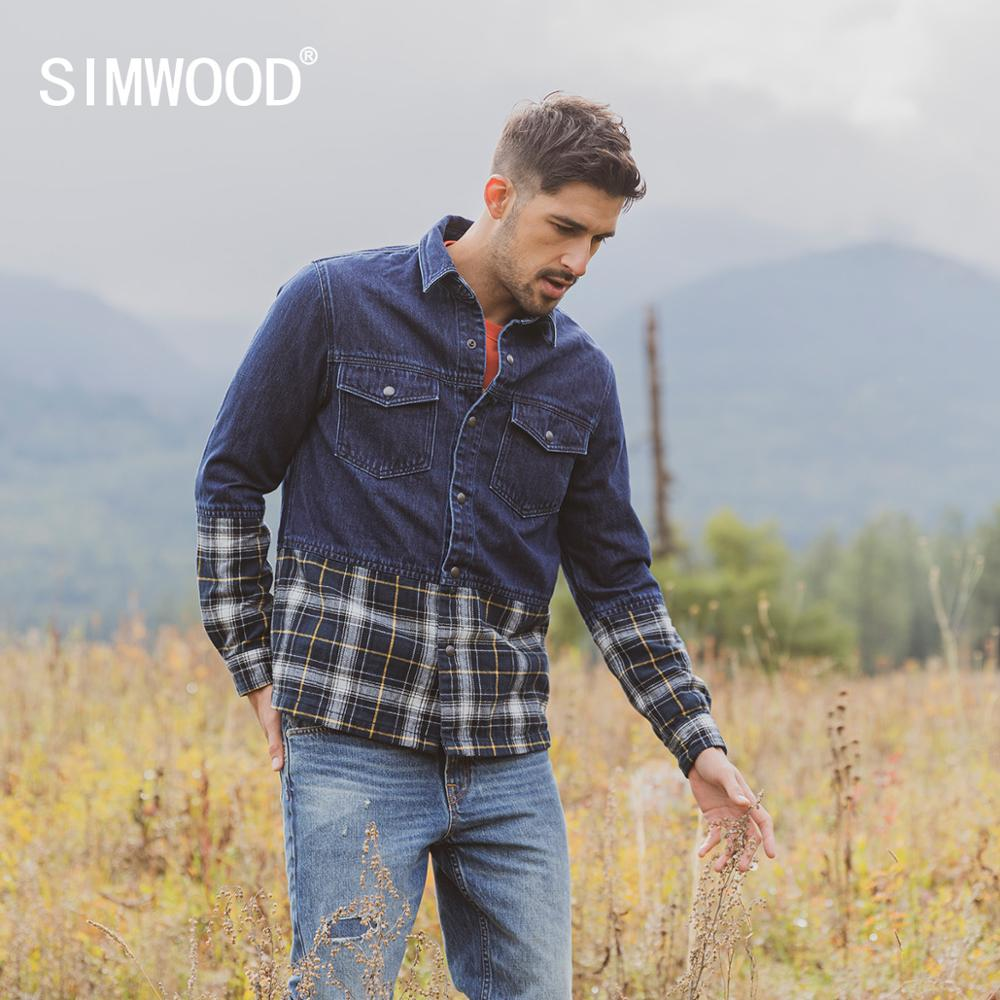 SIMWOOD 2020 Spring New Denim Chore Jacket Men Panelled Plaid Coats Patchwork Double Chest Pocket Cotton Jackets SI980630