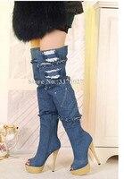 Fashion Platform Blue Denim Long Boots Woman Broken Hole Stiletto Heels Over the Knee Jean Boots Lady Large Size Banquet Shoes