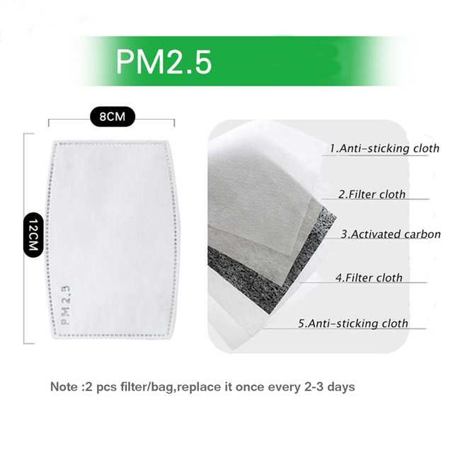 Korean Anti-Dust Respirator Masks Cotton Fabric Face Mask With Carbon Filter Anti PM2.5 Mouth-muffle Mask Washable Reusable 5