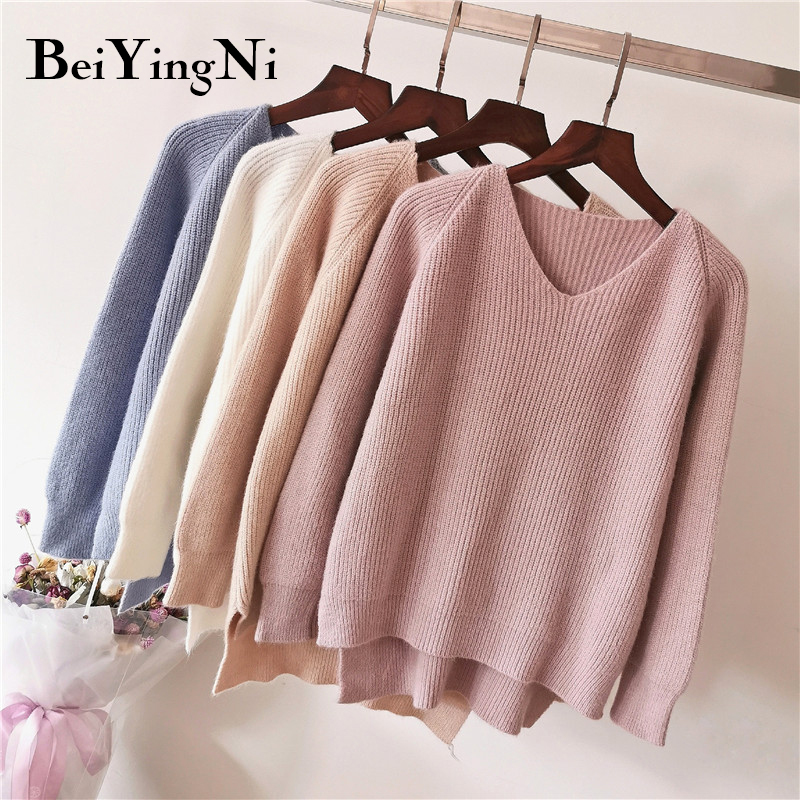 Beiyingni Women Sweater Ribbed Knitted Pullover Top Autumn Winter Warm Female Jumper Thick Christmas Sweaters Jersey Mujer Hiver