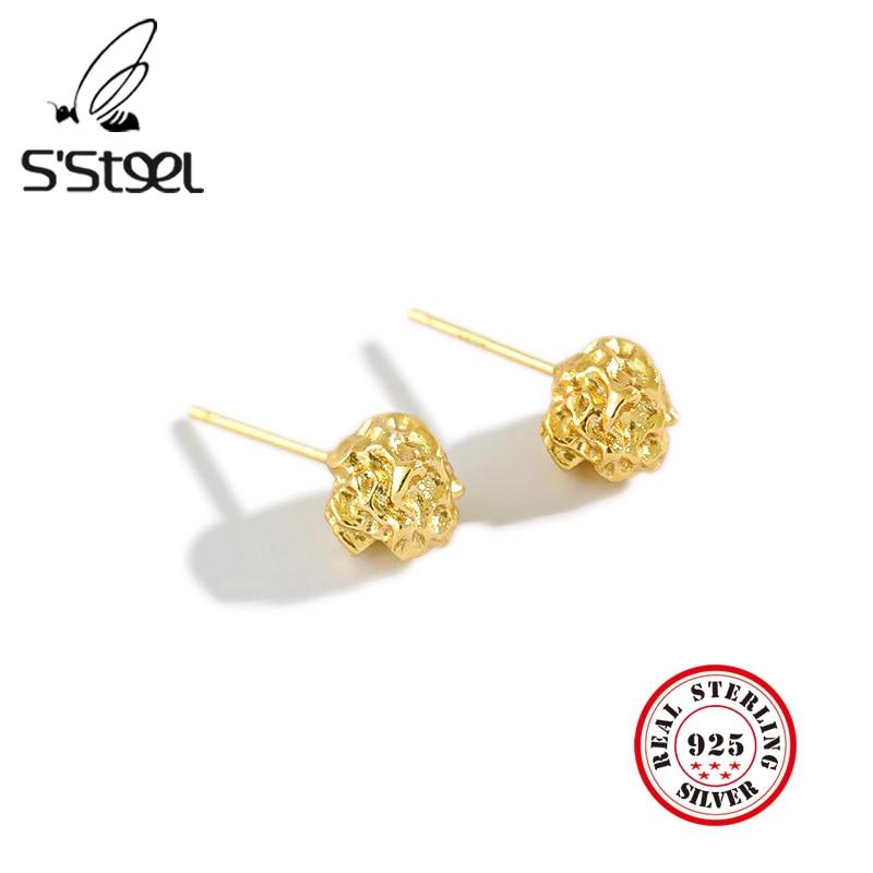 S'STEEL Earrings For Women Sterling 925 Silver Stud Earring Geometric Trendy Earings Minimalist Gold Earing Joyas Mujer Jewelry