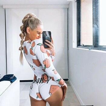 Sexy Women Bodysuit Long Sleeve Deep V Neck Bodycon Stretch Leotard Crop Tops Button Short Romper Pajamas Overalls for women