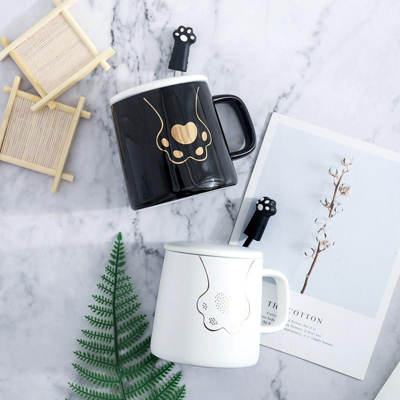quot Cat Paws quot Cute Ceramic Mug with Lid Spoon Tea Milk Cups Home School Kids Mugcup Drinkware Waterware in Mugs from Home amp Garden