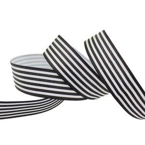 Image 1 - (10ヤード/ロット) 1 (25ミリメートル) 黒と白のストライプグログランリボン印刷ギフト包装装飾リボン