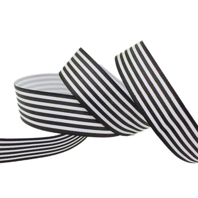 (10ヤード/ロット) 1 (25ミリメートル) 黒と白のストライプグログランリボン印刷ギフト包装装飾リボン