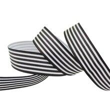 (10 מטר/הרבה) 1 (25mm) שחור ולבן פס מבהיקי סרט מודפס מתנת גלישת סרטי קישוט