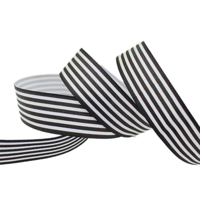 (10 yards/lot) 1 (25mm) Black and White Stripe grosgrain ribbon printed gift wrap decoration ribbons