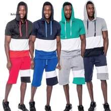 Conjunto de treino com capuz de verão dos homens novo hoodie + shorts define casual 2 pcs ternos roupas esportivas dos homens moletom masculino