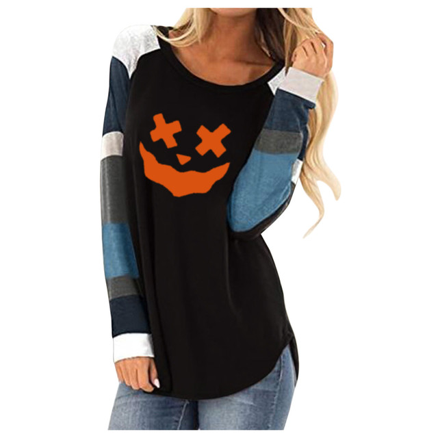 Pumpkin Print Halloween Women's T-shirt Fashion Long-sleeved Western Style Femme Top Clothes Funny Cotton O Neck Girl Clothes 1