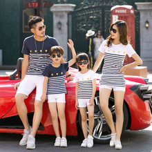 Family Matching Outfits Pure Casual Family T-shirts Cotton Striped Short Sleeved Round Neck Tee Tops White T-shirts Kids Clothes navy basic knit round neck t shirts