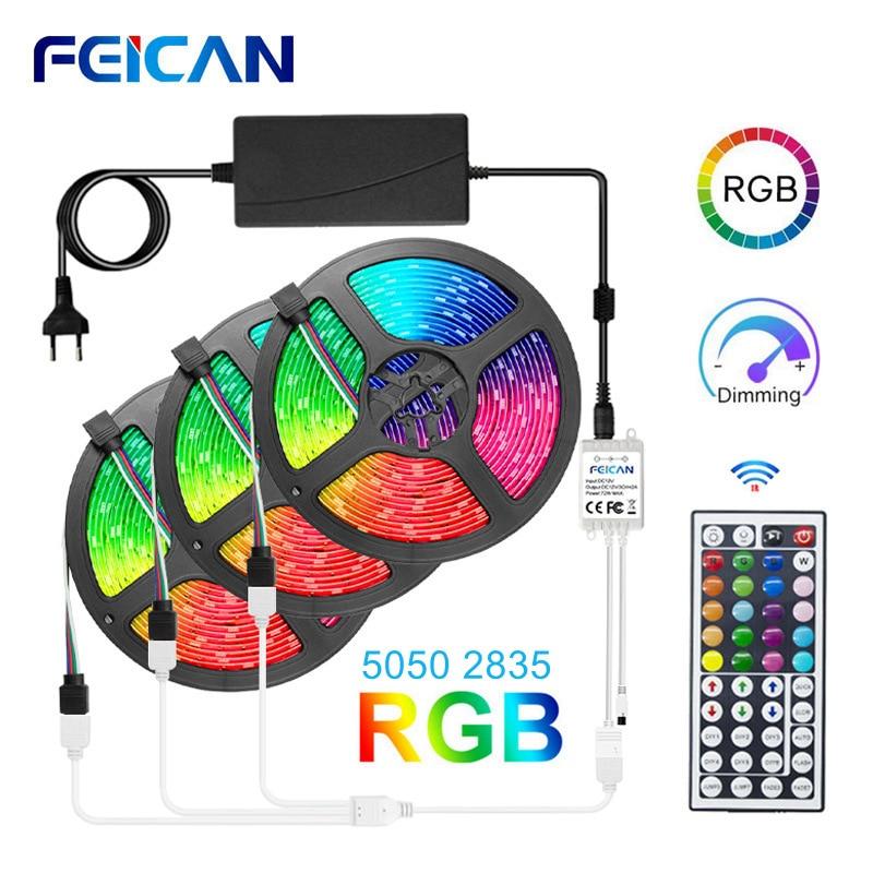 Tira conduzida rgb luzes 5050 2835 impermeável tira de luz conduzida 5 m 10 m 15 m fita 12 v rgb luzes led luz de fundo flexível fita de néon