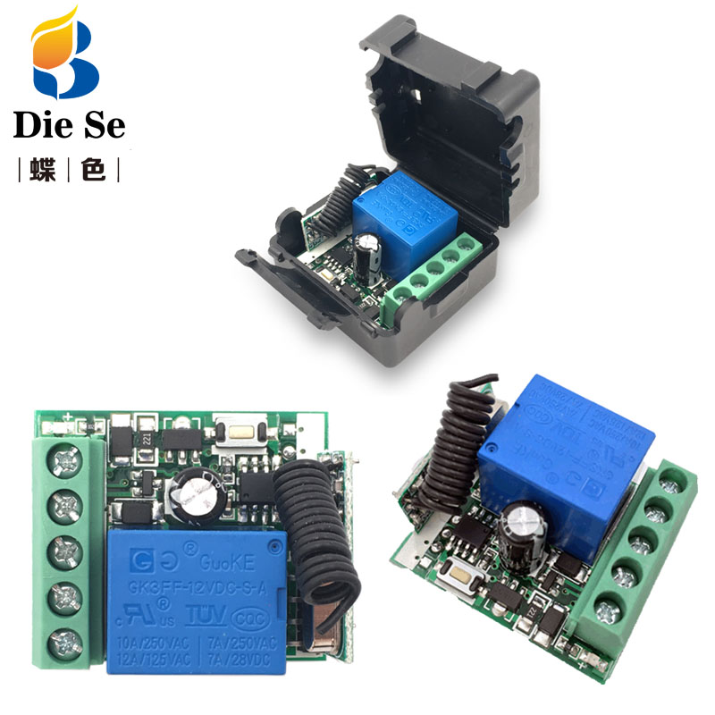433 mhz rf controle remoto dc 12 v 24 v 10a 1ch relé receptor para universal garagem/porta/luz/led/fanner/motor/transmissão de sinal