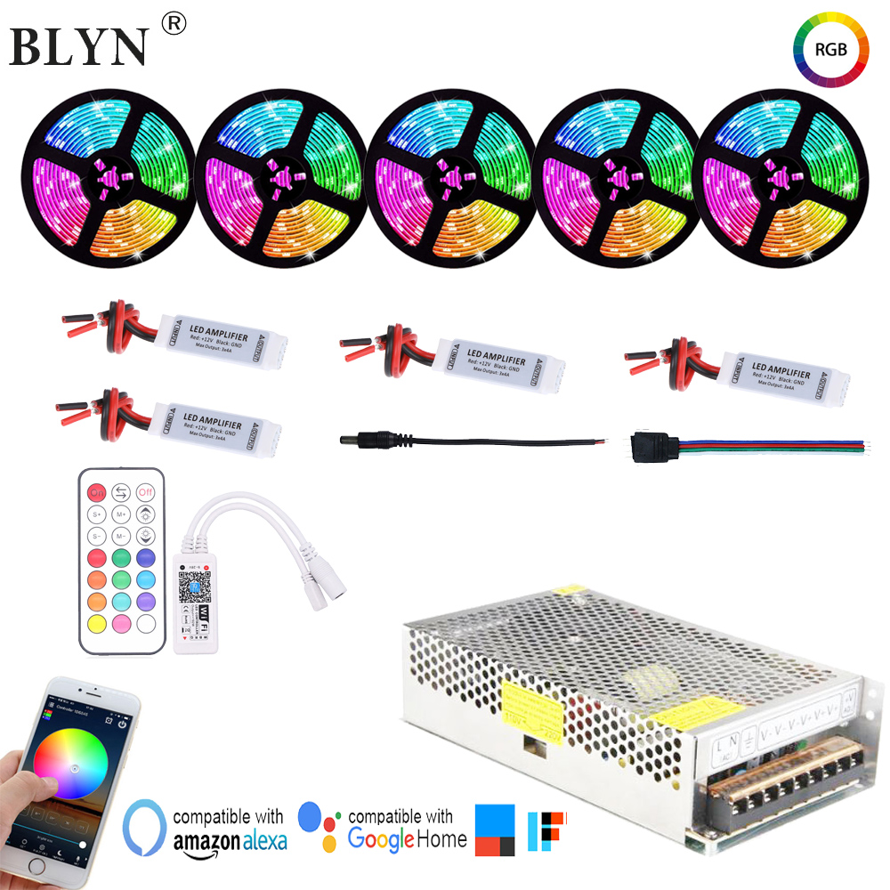 5050 WIFI LED Strip 5-25M Full Kit RF Remote Alexa Google Home Control Waterproof In Line Flexible Tape Light DC12V Power Supply