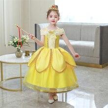 2020 Summer Children's Clothing Cosplay Bella Princess Dress Birthday Holiday Halloween Yellow Party Girls Dress фото